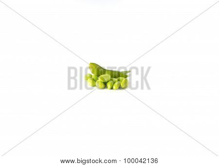 Green nuts On White Background.