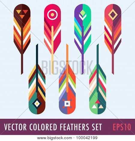 Set Of Colored Feathers