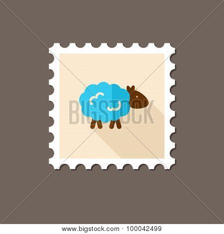 Sheep Flat Stamp With Long Shadow