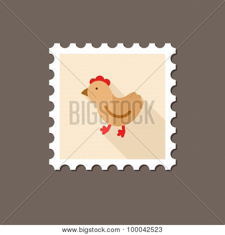 Chicken Flat Stamp With Long Shadow