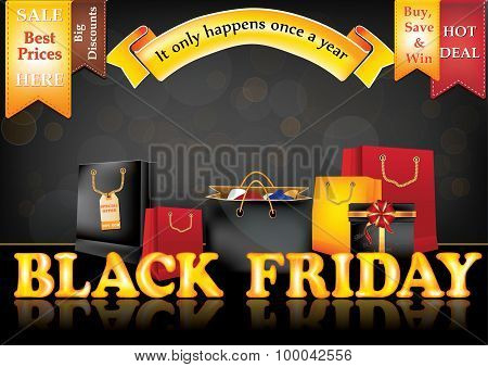 Black Friday sale advertising poster, also for print