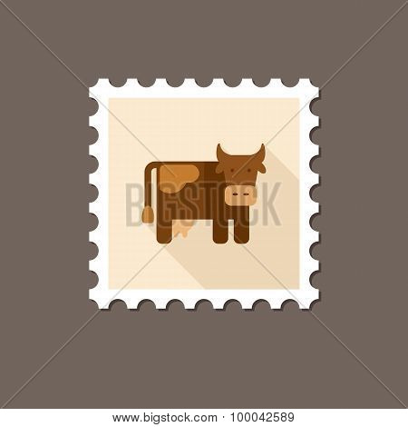 Cow Flat Stamp With Long Shadow