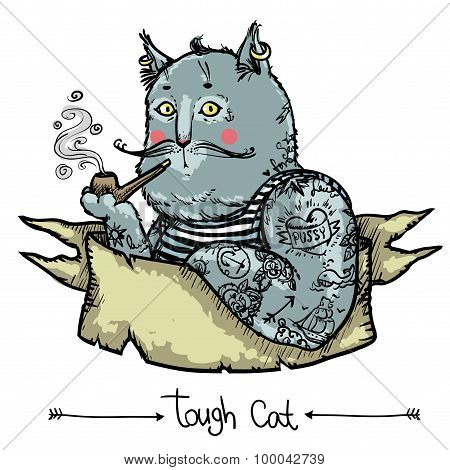 Tough Cat - hand drawn illustration