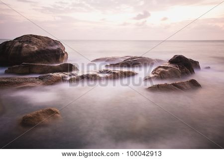 The rocky shore or beach