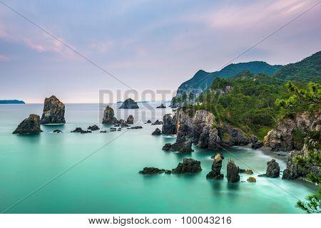 Omijima Island, Yamaguchi, Japan rocky coast on the Sea of Japan.