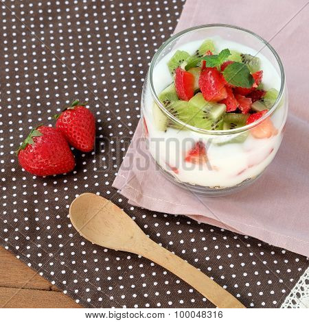 Healthy And Colorful Breakfast: Low Fat Yoghurt With Granola, Strawberry And Kiwi Fruit