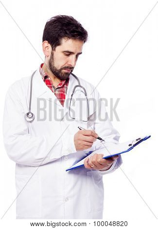 Male doctor writing a prescription in the clipboard, isolated on white background