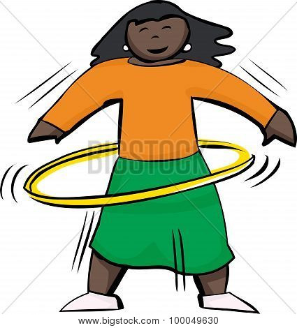 Happy Woman Using Yellow Hula Hoop