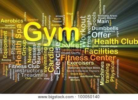 Background concept wordcloud illustration of gym glowing light