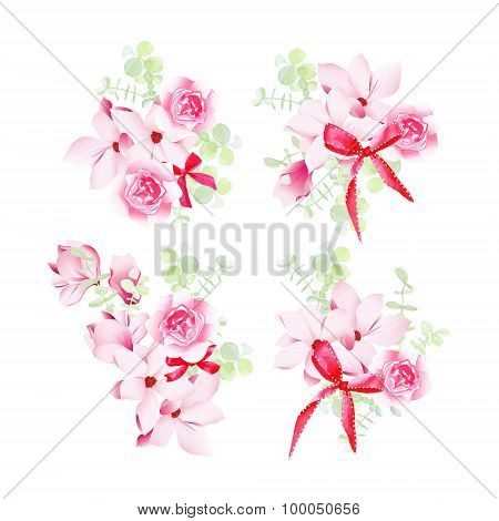 Celebration Floral Bunches With Red Bows Vector Design Objects
