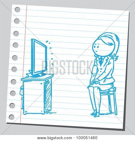 Businesswoman watching  television