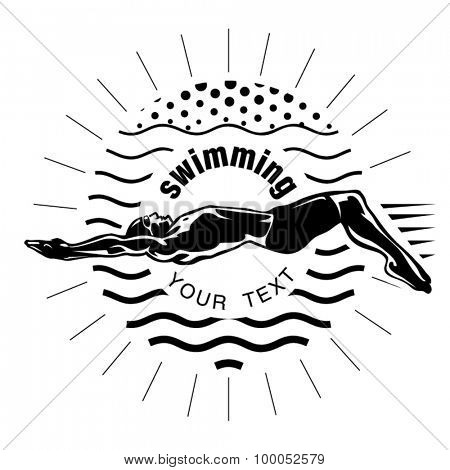 Male swimmer on the competition. Vector illustration in the engraving style