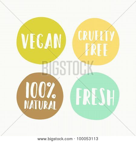 Set of vegan labels for product package