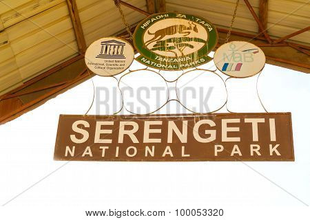 Serengeti National Park Entrance Sign