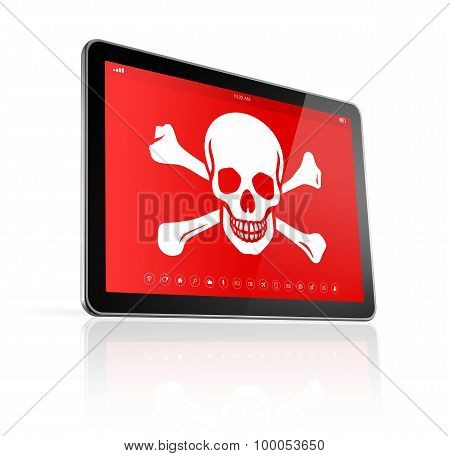 Digital Tablet Pc With A Pirate Symbol On Screen. Hacking Concept