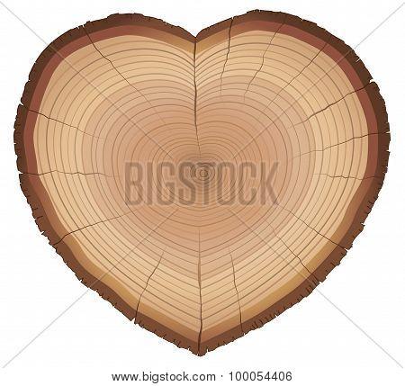 Love Nature Wood Rings Heart Shaped Symbol
