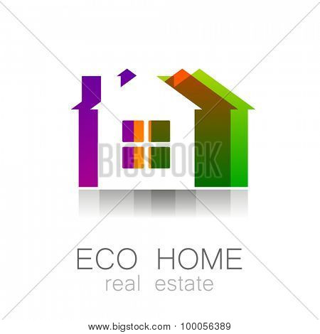 Eco home - template logo. Ecological construction, natural construction materials, cottage village, care for the environment.