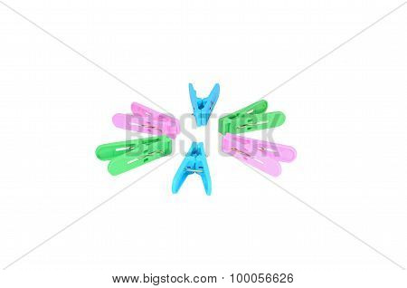 Isolated Scene Of Six Colorful Clothespin And Decorate Like Circle With White Background