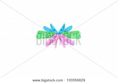 Isolated Scene Of Colorful Clothes Peg And Decorate As Circle With White Background