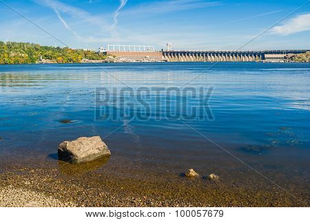 View from Khortytsia island to Hydroelectric Station on the Dnepr River