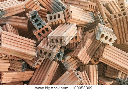 Red Brick Stone For Construction Stacks, Rough Textured Stones Heap