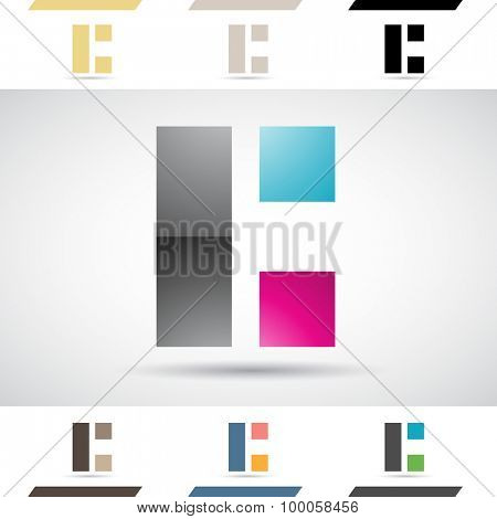 Design Concept of Colorful Stock Icons and Shapes of Letter C, Vector Illustration