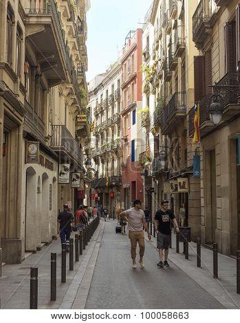 Old Streets Of Barrio Gotico In Barcelona, Catalonia