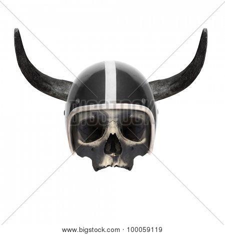 Retro motorcycle helmet with bull's long horns on the skull.