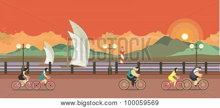 Evening Pier Cyclists