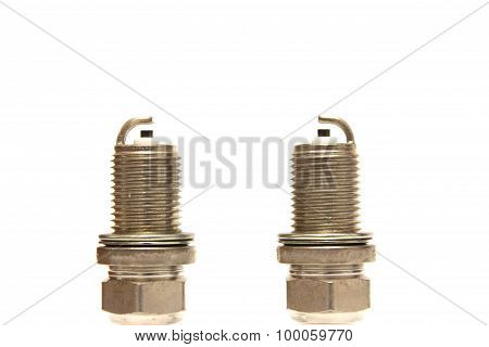 New spark plugs on a white background