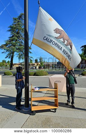 Hoisting the California State Flag