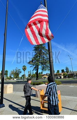 Hoisting the American Flag