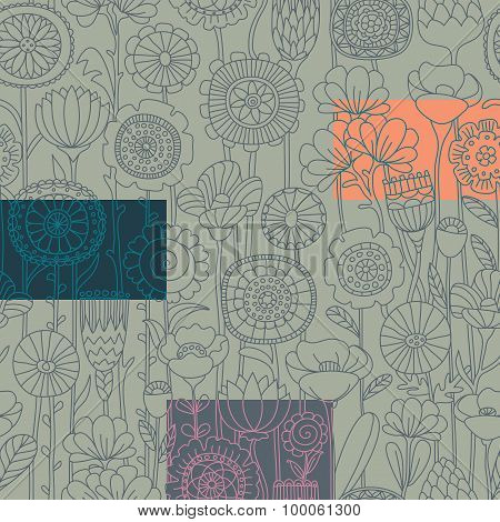vector set grey seamless floral pattern