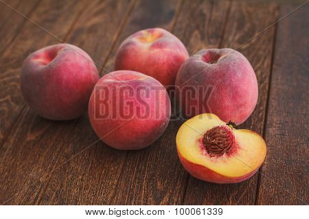 Group Of Ripe Red Peaches