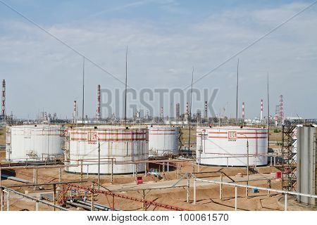 Huge Storage Tanks For Petroleum Products With The Logo Of Lukoil
