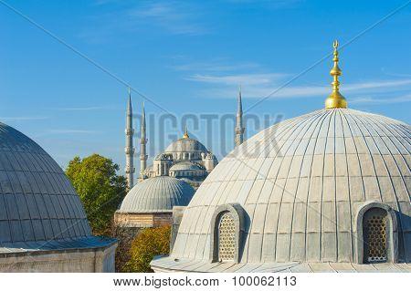 Blue Mosque (Sultan Ahmet Mosque) and cupolas seen from Hagia Sophia