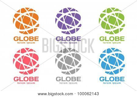 Vector abstract earth circle logo design. Earth logo. Globe logo icon. Abstract flow logo template. Round ring shape and infinity loop symbol, technology icon, geometric logo. Company logo design