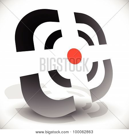 Crosshair, Reticle Icon For Accuracy, Alignment, Targeting Concepts. Editable Vector.