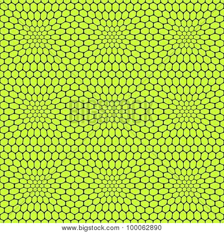 Seamless reticulate pattern with hexagonal cells. Vector art.