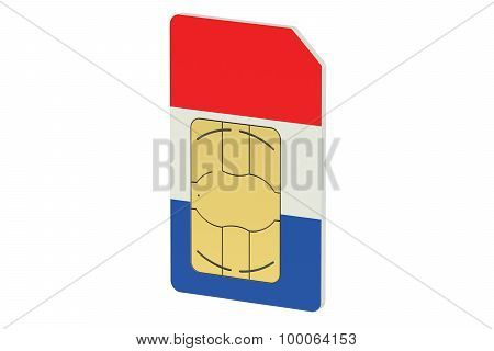 Sim Card With Flag Of  France