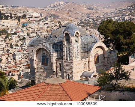 A View Of Church Of St. Peter In Gallicantu At Jerusalem Old City Area