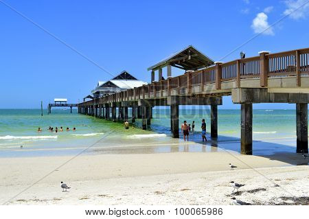Pier 60 Clearwater Beach Florida, USA - May 12, 2015: tourists on the beach bar enjoying the sun