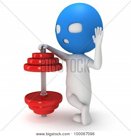 3D Man In Mask With Red Dumbbell
