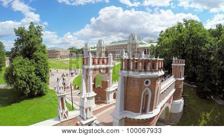 MOSCOW - JUN 06, 2015: Historical complex with Catherines Palace in Ttsaritsyno at summer day. Aerial view