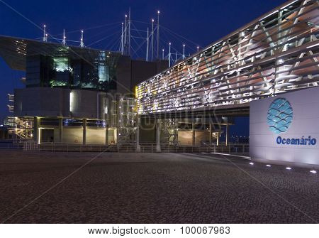 Lisbon Acquarium Building At Night