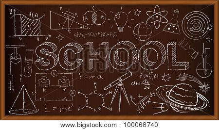 School chalk board. Set of school doodles on brown background. Vector Illustration