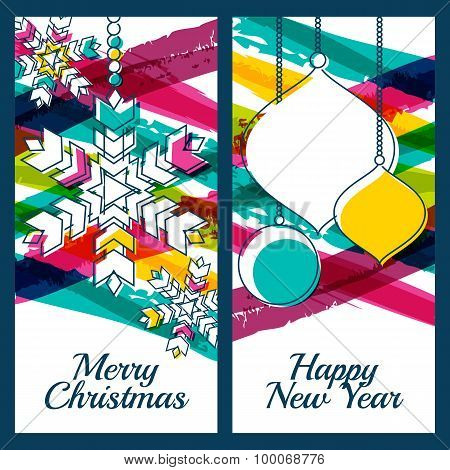 Vector Illustration Of Snowflake, Fir Tree Toys, Baubles And Colorful Watercolor Stripes Background.
