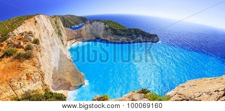 Panorama of Navagio Beach (Shipwreck beach) on Zakynthos Island, Greece