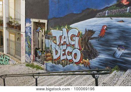 Graffiti On Calcada Do Lavra Street