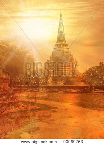 Old temple in Thailand in Ayutthaya - image in vintage style
